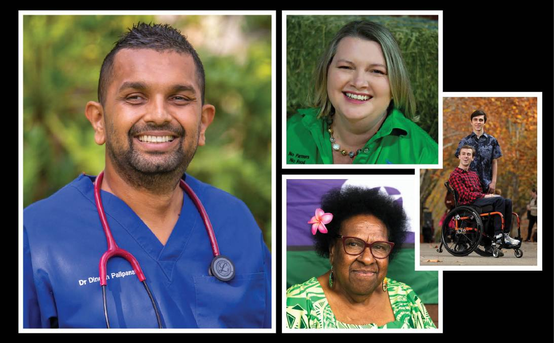OUTSTANDING QUEENSLANDERS: Queensland Australian of the Year Dr Dinesh Palipana, Local Hero Natasha Johnston, Queensland Senior Australian of the Year Auntry McRose Elu and Queensland Young Australians of the Year Daniel and William Clarke.