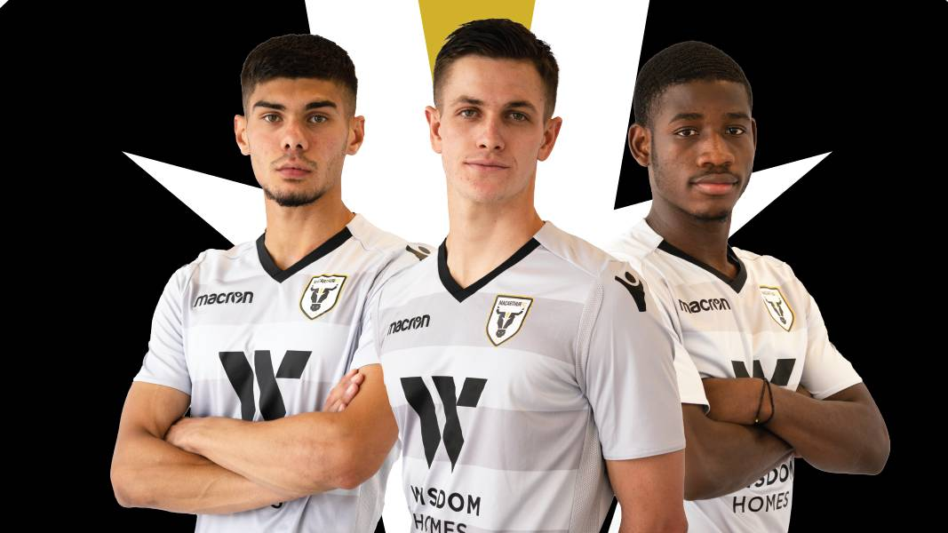 New recruits: Yianni Nicolaou, Walter Scott and Charles M'Mombwa have signed with Macarthur FC. The trio have been training with the side for the past month. Picture: Macarthur FC