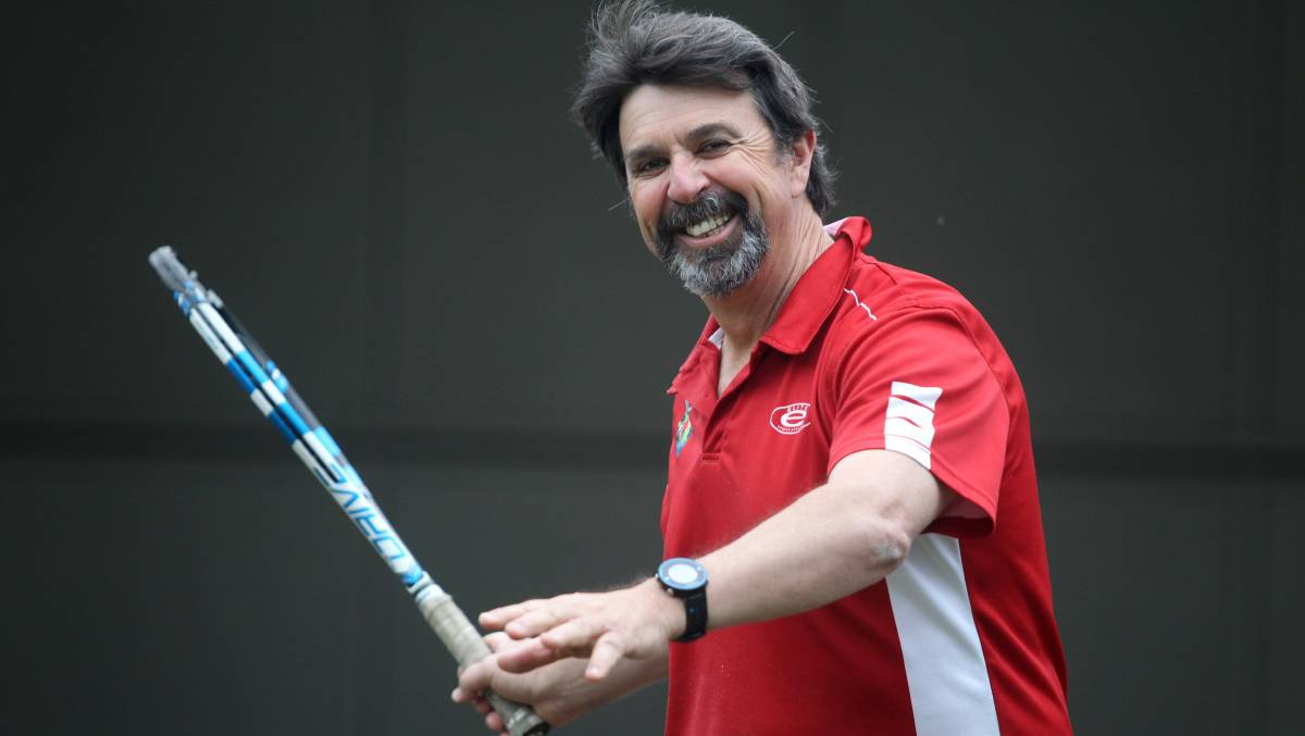 In the swing: Tennis coach Tony Podesta. Picture: Chris Lane