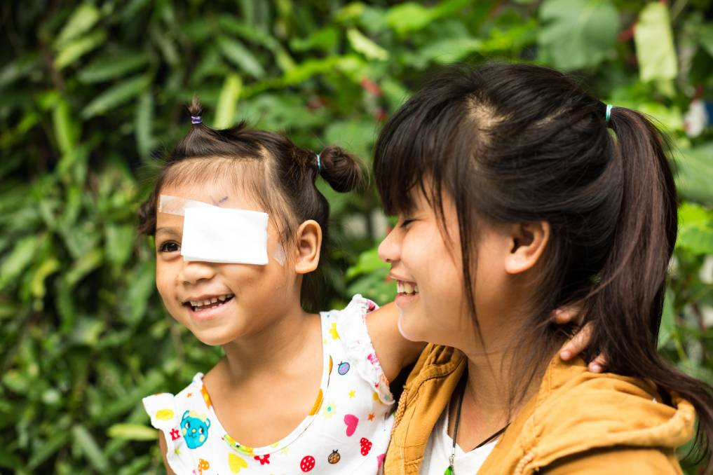 Truat was blind in one eye as a result of cataract caused by trauma, but thanks to donations from Fairfield and the Fred Hollows Foundation, she is now able to see. Picture: Supplied