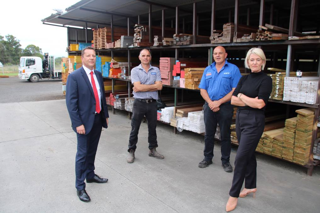 Paul Scully, Sam Furfaro, Michael Furfaro and Yasmin Catley at Mitre 10 Kemps Creek. Picture: Supplied