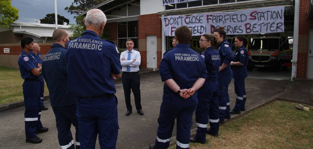 Not happy: Fairfield paramedics met with Fairfield MP Guy Zangari, Shadow Minister for Emergency Services, last Monday.