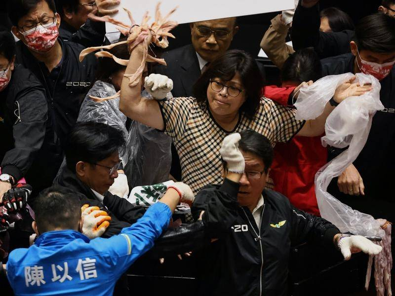 Pork intestines have been thrown amid rowdy protests in Taiwan's parliament.