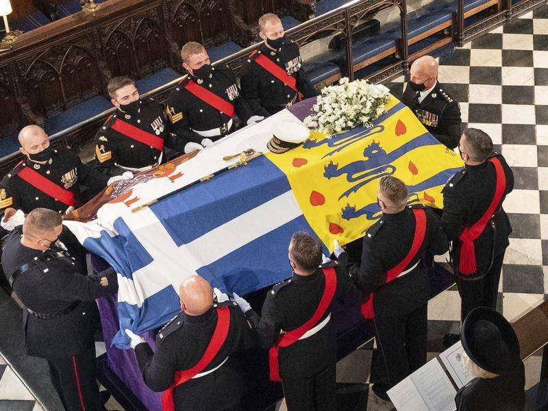 Pallbearers carried the coffin of the Duke of Edinburgh during his funeral at St George's Chapel.
